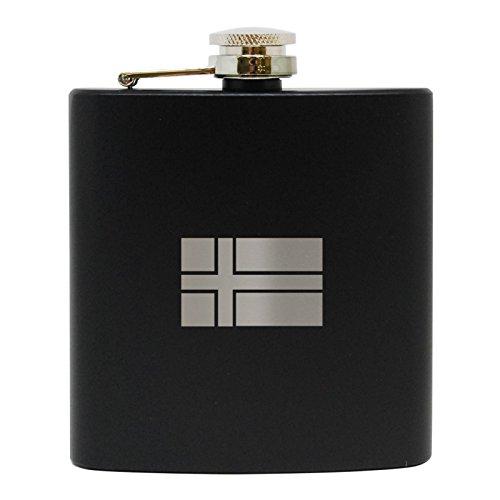 Icelandic Flag Black Stainless Steel Flask - Precision Laser Engraved Liquor Flask - Engraved in USA - 6 (Flag Stainless Steel Flask)