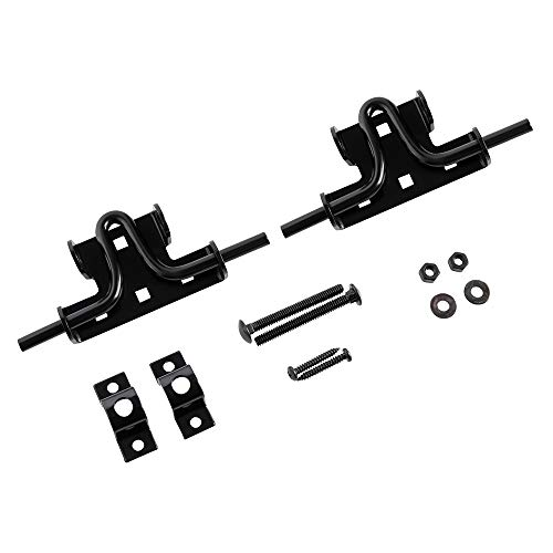 (Home Master Hardware Slide Bolt Door Gate Latch Steel Black Finish with Screws 2 Pack)