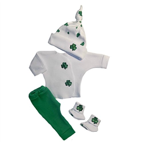 Jacqui's Unisex Baby Irish Blarney Clothing Set Preemie & Newborn - Made in The USA, 0-3 Months White