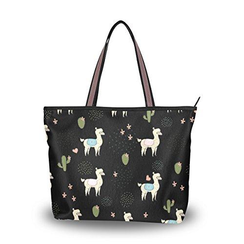 Large Shoulder Bag Cute Alpaca Black Beach Bag Tote Top Handbag by Senya