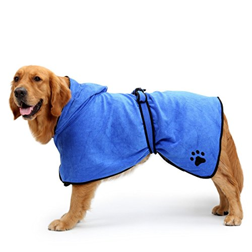 BONAWEN Dog Pet Bath Towel 100% Microfiber Pet Bathrobe Super Absorbent with Waist Belt/Hood, 5 Sizes(Blue,XL)