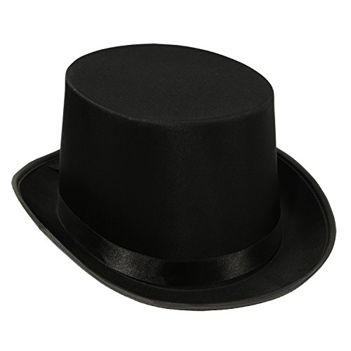 This hat features sleek black satin made of top quality materials. A shiny black satin band has been added for a touch of elegance. The crown is 4.5-Inch tall and the upturned brim is 2-Inch. The head circumference is approximately 23-Inch, t...