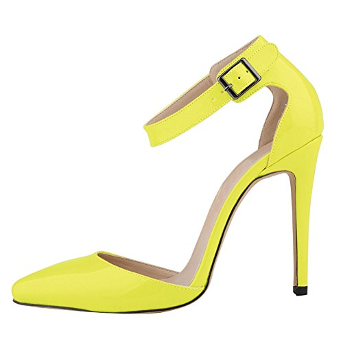 fereshte Ladies Womens High Heel Pointed Toe Anckle Strap Court Shoes Neon Yellow 5vDLjfO