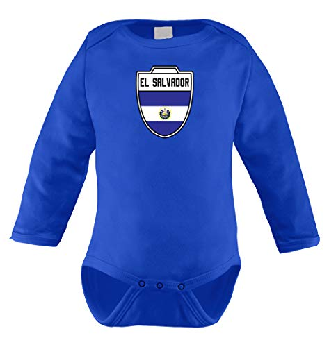 HAASE UNLIMITED El Salvador Salvadorian - Soccer Infant Long Sleeve Bodysuit (Royal Blue, 18 (Club America Long Sleeve Jersey)