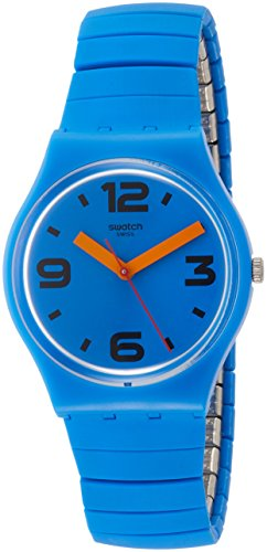 Swatch Pepeblu GN251A Blue Silicone Swiss Parts Quartz Fashion Watch (Resistant Watch Water Swatch)