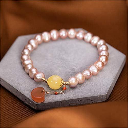 FUKAI Simple FEA Pulseras De Perlas De Agua Dulce Naturales para Mujeres Infinito Cuerda Elástica Perlas Perlas Pulseras De Piedras Preciosas Ágata Ámbar