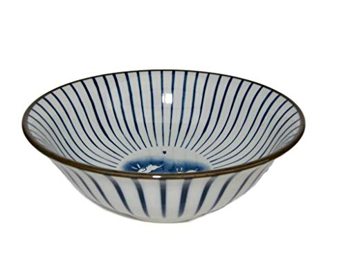 Japanese XL Bowl 8.2 inch diam. Juso with rabbits pattern Ramen, Soup, Ramen Noodle or Serving Bowl White and Blue from Japan (Chinese Dragon Blue And White Rice Pattern)