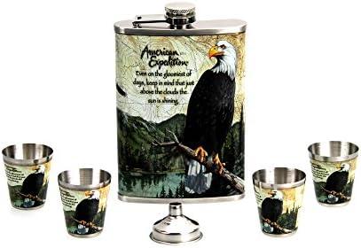 GMMH Taschenflasche Flachmann Adler Flask Set 240 ml, 4+1+1, aus Edelstahl in Geschenkbox