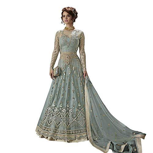 (stylishfashion Women/Designer Ethnic Indian Wear Anarkali Suit Party Wear (Sky Blue, Medium-40))