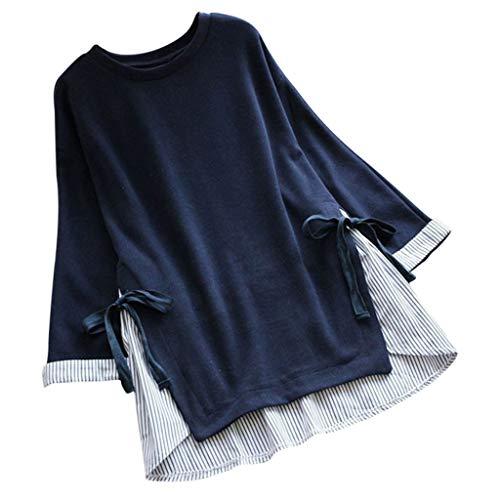JMETRIE Women's Plus Size Fake Two Pieces Stripe Patchwork Bow Bandage Casual Blouses T-Shirt Navy