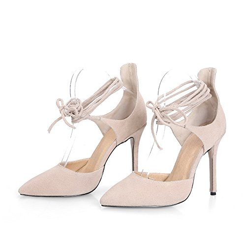 Women's High up Closed Lace Toe apricot Sandals Frosted AgooLar Heels Solid Pointed pwd0qtWOx