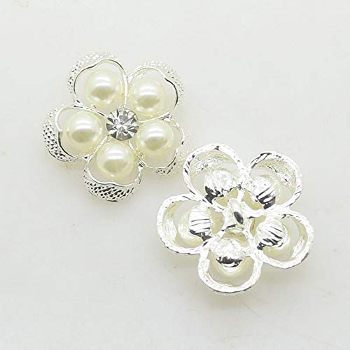XINXI 20pcs/Lot 25mm Gorgeous Flower Pearls Alloy Rhinestone Buttons with Shank for Wedding Invitation Cards Decoration Metal Brooch Hair Bow DIY Craft Jewelry Accessories (Silver)