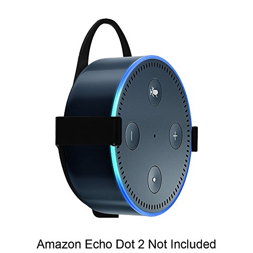 Fintie Wall Mount Stand Holder for Amazon Echo Dot (Fits All-New Echo Dot 2nd Generation) - Solid Metal with Hanger Loop, Black by Fintie (Image #3)