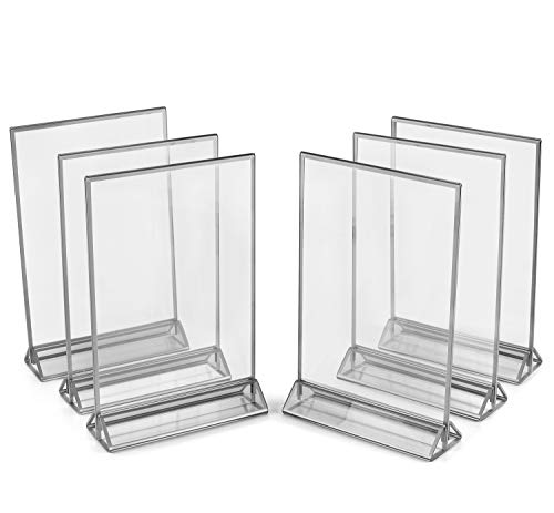 Super Star Quality Clear Acrylic 2 Sided Frames with 3MM Silver Borders and Vertical Stand (Pack of 6) | Ideal for Wedding Table Number, Double Sided Sign, Clear Photos, Menu Holders