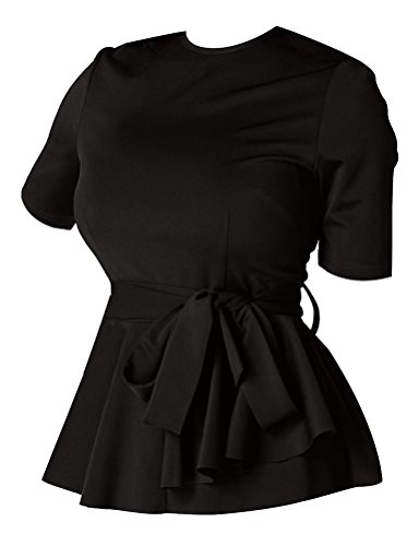 Ezcosplay Women's Short Sleeve Waist-Tie Tops Solid Loose Fit T-Shirt Blouse Black