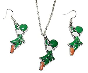 Super Mario Yoshi Metal Pendant Necklace and Earring Set