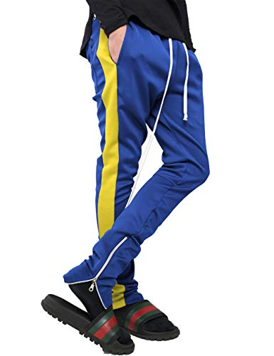 Mens Stripe Track Pants Skinny Fit Stretch Trouser Elastic Jogger 1VWA0006 (X-Large, -