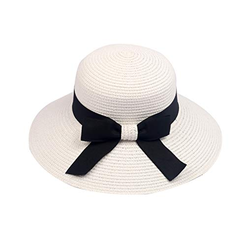 Solid Straw Beach Cap Womens Hat Fashionable Wide Brim Sunhat with Bownet Lady ()