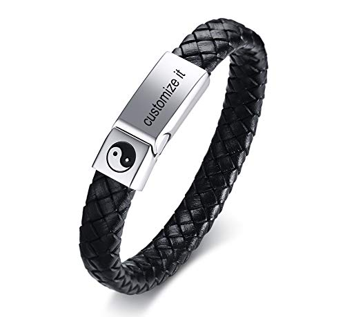 - MPRAINBOW Custom Personalized Stainless Steel Genuine Braided Leather Cuff Bracelet,21.5cm,Free Engraving