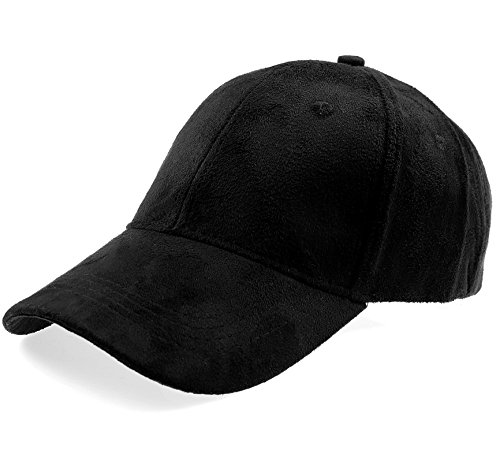 RufNTop Classic Faux Leather Suede Adjustable Plain baseball cap(BLACK OS) (Hat Black Suede)