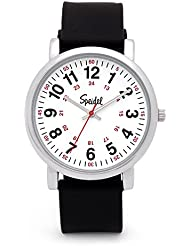 Speidel Scrub Watch for Medical Professionals with Black Silicone Rubber Band - Easy to Read Timepiece with Red...