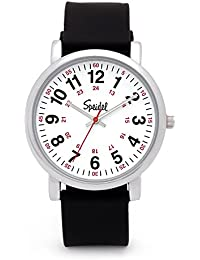 Scrub Watch for Medical Professionals with Black Silicone Rubber Band - Easy to Read Timepiece with Red Second Hand, Military Time for Nurses, Doctors, Surgeons, EMT Workers, Students and More