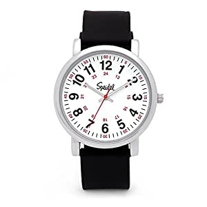 speidel scrub watch for medical professionals with black silicone rubber band easy to read. Black Bedroom Furniture Sets. Home Design Ideas