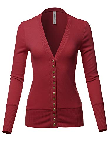 Causal Button Long Sleeves Everyday Cardigan Burgundy S ()