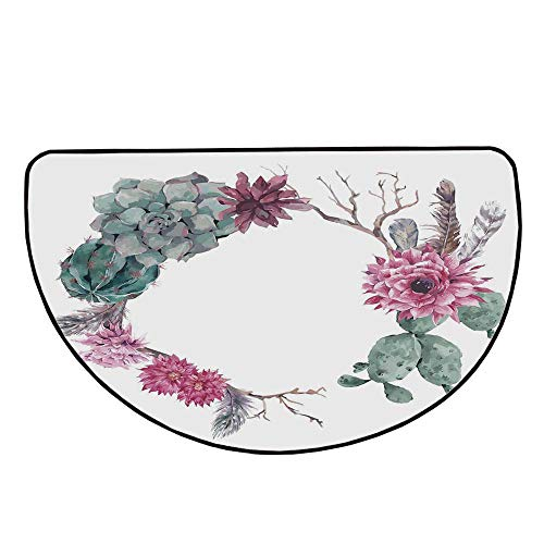 - Succulent Comfortable Semicircle Mat,Summer Vintage Floral Wreath Boho Chic Style Branches Feathers Decorative for Living Room,29.5
