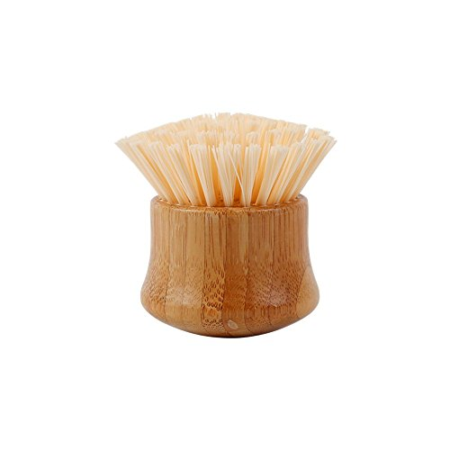 HUIBOT Bamboo Vegetable Brush with Handle Round Natural Fruit Dish Scrubber