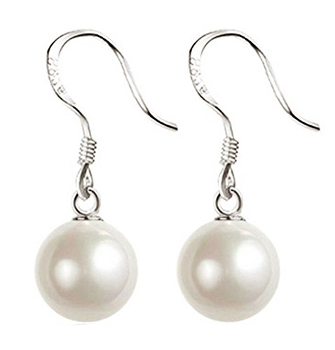 TomSunlight 925 Sterling Silver 8mm White Pearl Dangle Earrings Vintage Authentic Hook Earrings