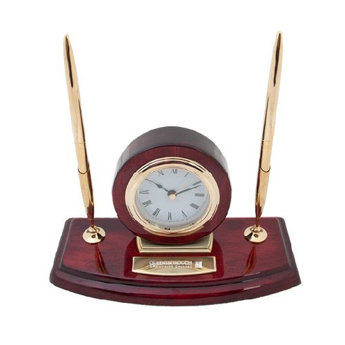 Queensborough Comm Executive Wood Clock and Pen Stand 'Official Logo Engraved' by CollegeFanGear