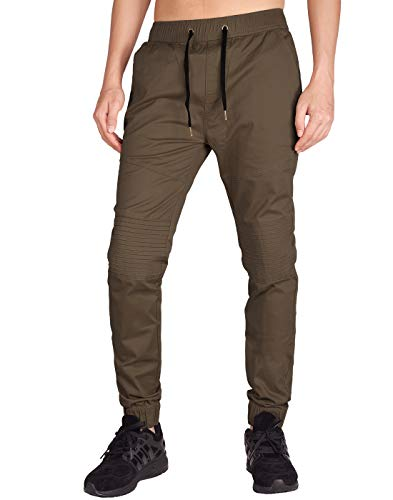 ITALY MORN Men's Chino Jogger Skateboard Pant Twill Athletic Fit (XS, Coffee)
