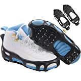 JSHANMEI Crampon Walk Ice Gripper Traction Spikes Cheat Camping Hiking Black Ice Grips Outdoor Snow Winter Anti-Slip Spikes and Durable Rubber Shoes Cover Size Small,Medium,Large,X-Large