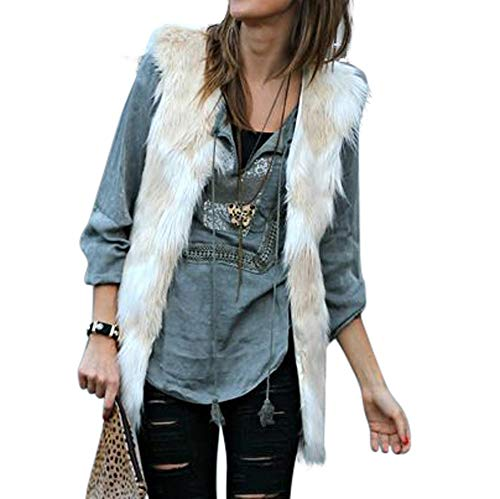 Vest for Women, Misaky Winter Sleeveless Gradient Color Waistcoat Solid Winter Loose Coat(Beige, Large) ()
