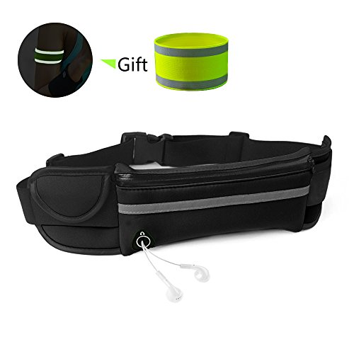 BORUI Fanny Pack Running Belt Waist Pack Water Resistant Runners Belt Adjustable Running Pouch for Women and Man Hiking Camping Jogging Outdoor Fitness Sport (Black)
