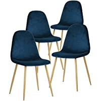 GreenForest Dining Chairs for kitchen,Elegant Velvet Back and Cushion, Mid Century Modern Side Chairs Set of 4,Blue