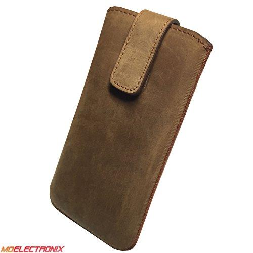 1A ECHT LEDER BRAUN Slim Cover Case Schutz Hülle Etui Tasche für Apple iPhone 8 Plus