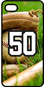 Baseball Sports Fan Player Number 50 Smoke Rubber Decorative iPhone 5/5s Case