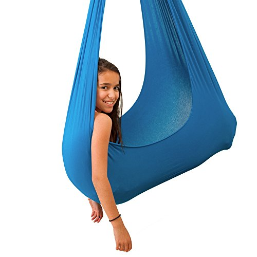 Special Needs Children Set - Indoor Therapy Swing for Kids with Special Needs by InYard | Lycra Snuggle Swing | Cuddle Hammock for Children with Autism, ADHD, Aspergers | Ideal for Sensory Integration (Up to 165lbs, Light Blue)