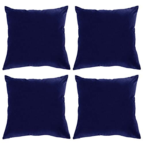 Velvet Pillowcase - Deconovo Luxurious Velvet Pillowcases Hand Made Decorative Cushion Cover with Invisible Zipper for Couch 18 x 18 Inch Navy Blue, 4 pcs