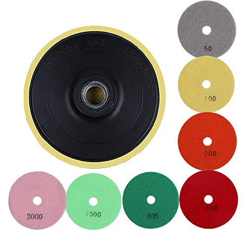 Lucky Monet Diamond Polishing Pads 7 Step Pads + 1 Backer 4 inch Wet/Dry for Grantie Stone Concrete Marble Mix Grit 50-30000