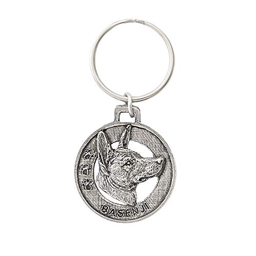 Basenji Hunting Dog Pewter Key Chain, Key Fob, Key Ring, Gift, D018KC