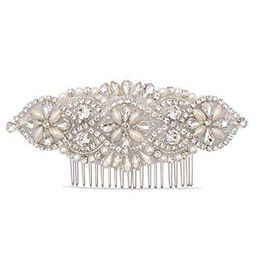 LovShe Bridal Hair Accessories Pearl Wedding Hair Comb Crystal Rhinestone Hair Comb for Bride Bridesmaid