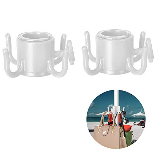TAGVO 2 Pack Beach Umbrella Hanging Hook, 4-prongs Plastic Umbrella Hook Hanging for Towels/Hats/Clothes/Camera/Sunglasses/Bags-Durable, Fit for Beach,Camping Trips (White- 2 Pack)