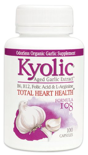 100 Garlic Extract - Kyolic Aged Garlic Extract Formula 108 Total Heart Health (100 Capsules) Heart Healthy Odorless Organic Garlic Supplement, Soy- Gluten-Free, Gentle on the Gut Garlic Pills