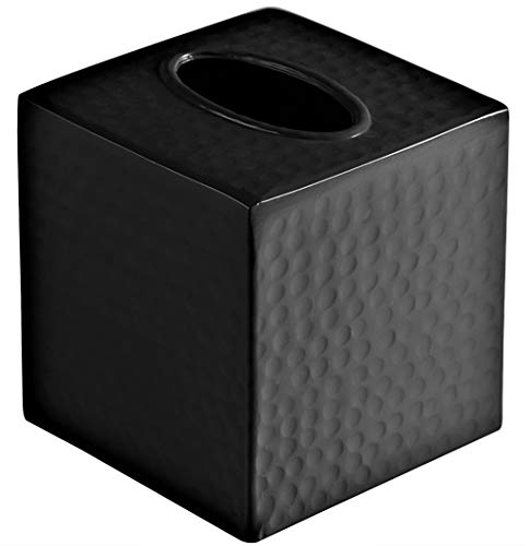 Monarch Abode Monarch Hand Hammered Metal Tissue Box Cover, Matte Black
