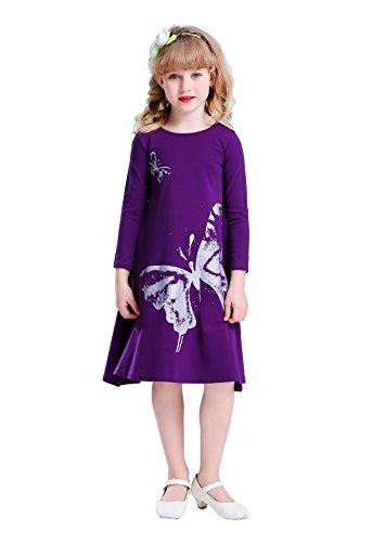 Happy Rose Girls Butterfly Print Dress Purple 12 ()