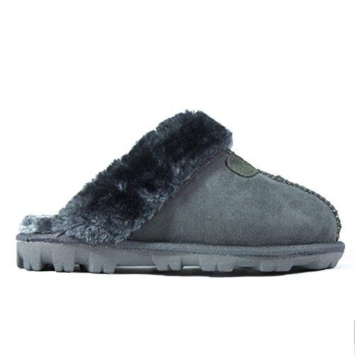 eba1ba4cf808 CLPP LI Womens Slip On Faux Fur Warm Winter Mules Fluffy Suede Comfy  Slippers-