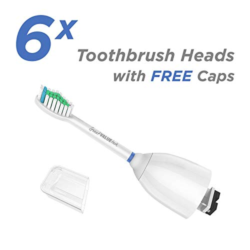 6X Brush Heads with Philips Sonicare Toothbrush fits Elite, Essence, Xtreme, HX7023, Tech